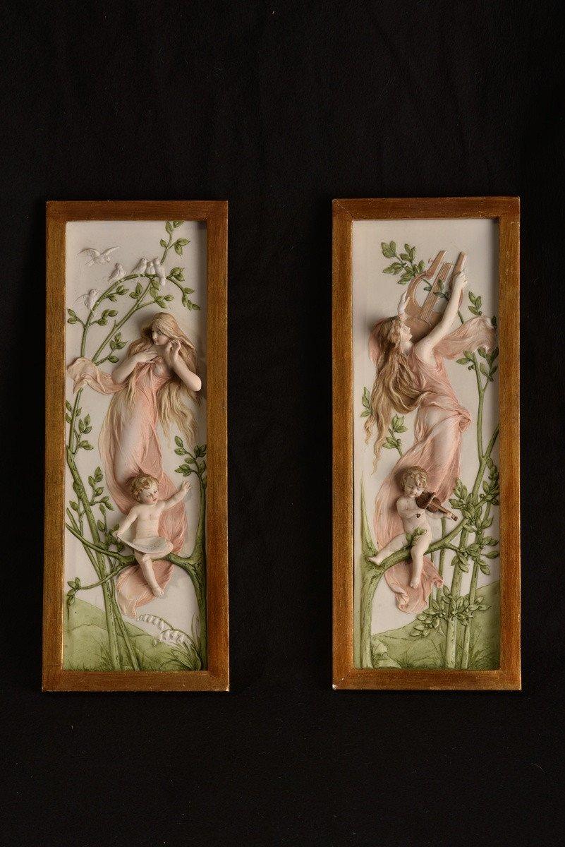 Tableaux En Biscuit. Art Nouveau. Jugendstil. Allégories.