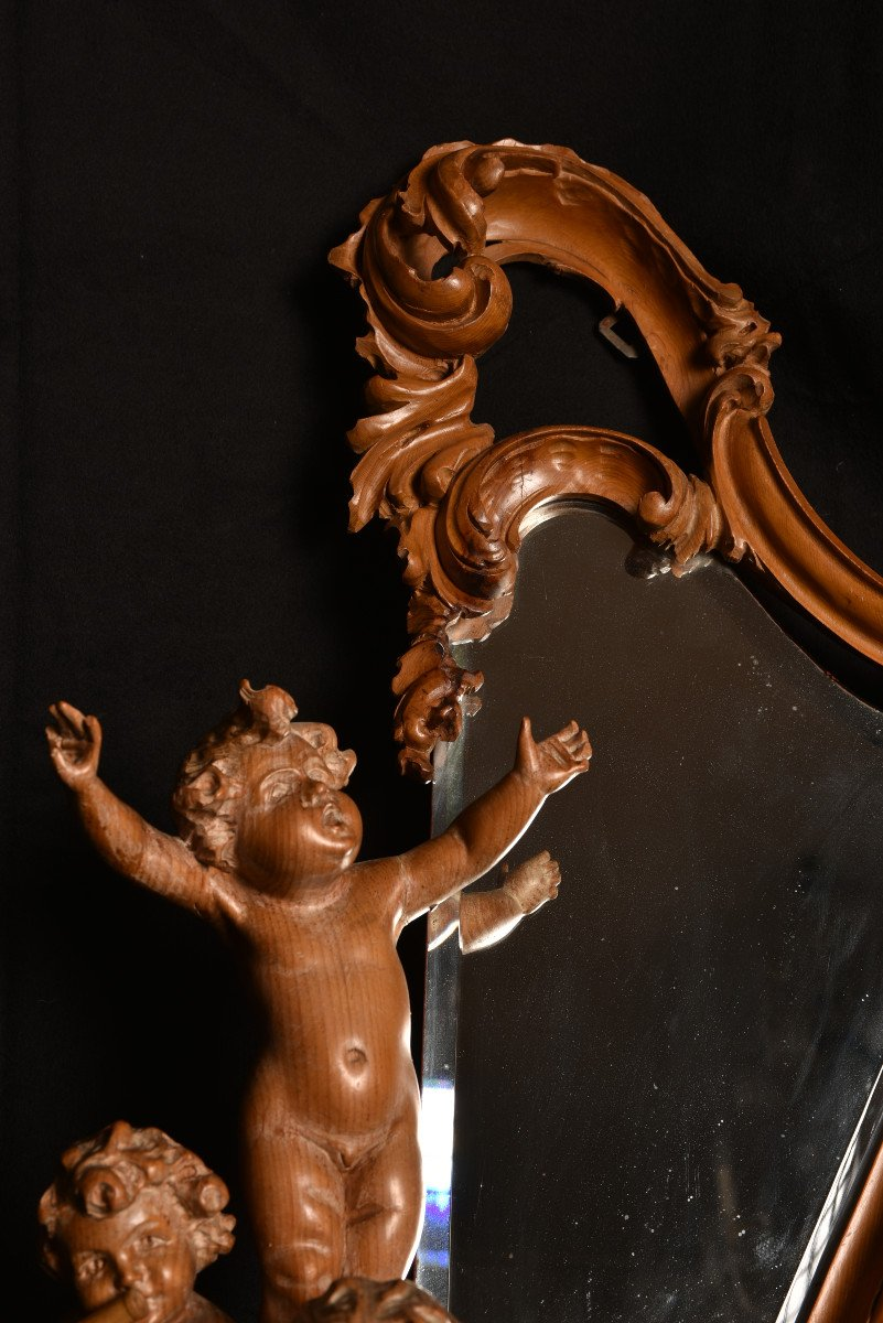 Miroir En Bois De Tilleul. Enfants Musiciens XIXème.-photo-1