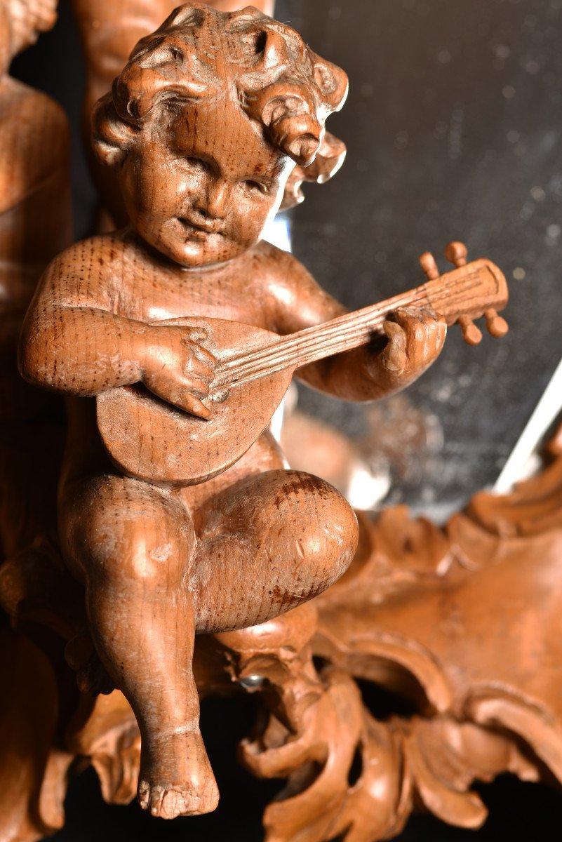 Miroir En Bois De Tilleul. Enfants Musiciens XIXème.-photo-2