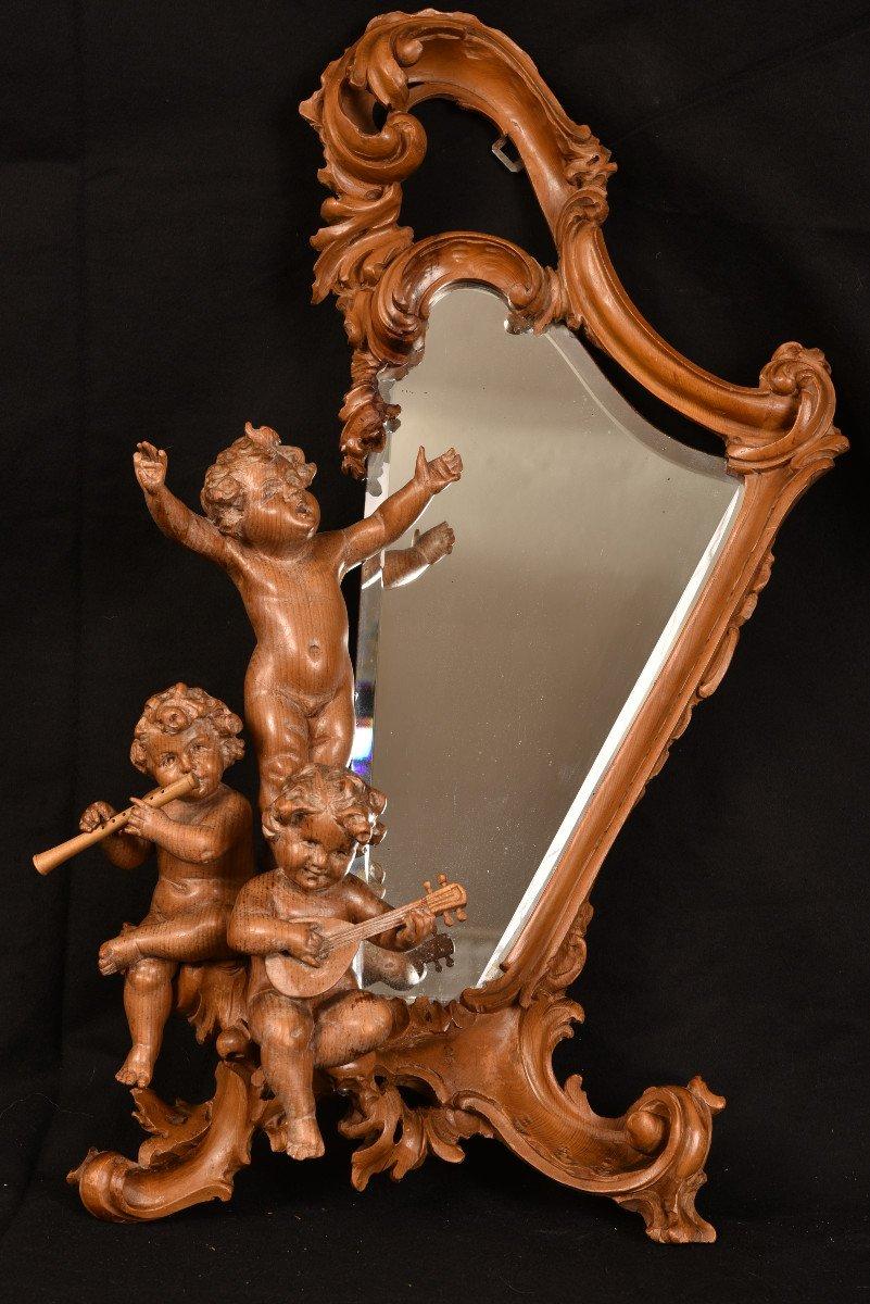 Miroir En Bois De Tilleul. Enfants Musiciens XIXème.-photo-3
