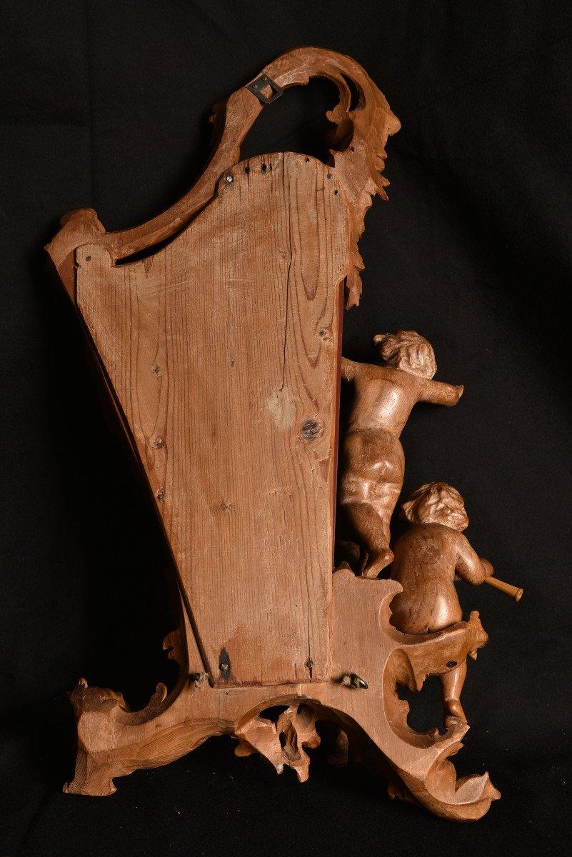 Miroir En Bois De Tilleul. Enfants Musiciens XIXème.-photo-4