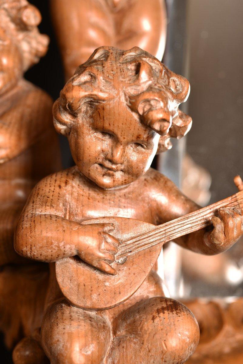Miroir En Bois De Tilleul. Enfants Musiciens XIXème.-photo-7