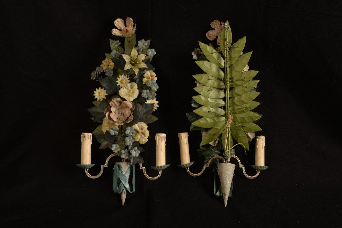 Appliques. Bouquets De Fleurs En Métal Patiné.-photo-2