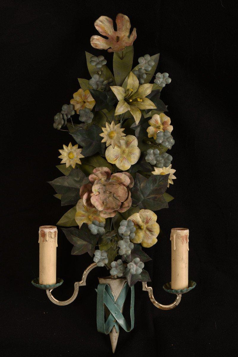 Appliques. Bouquets De Fleurs En Métal Patiné.-photo-3