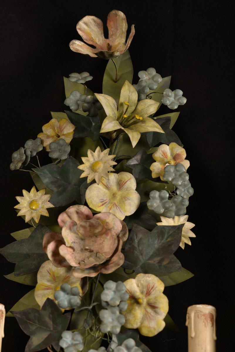 Appliques. Bouquets De Fleurs En Métal Patiné.-photo-4