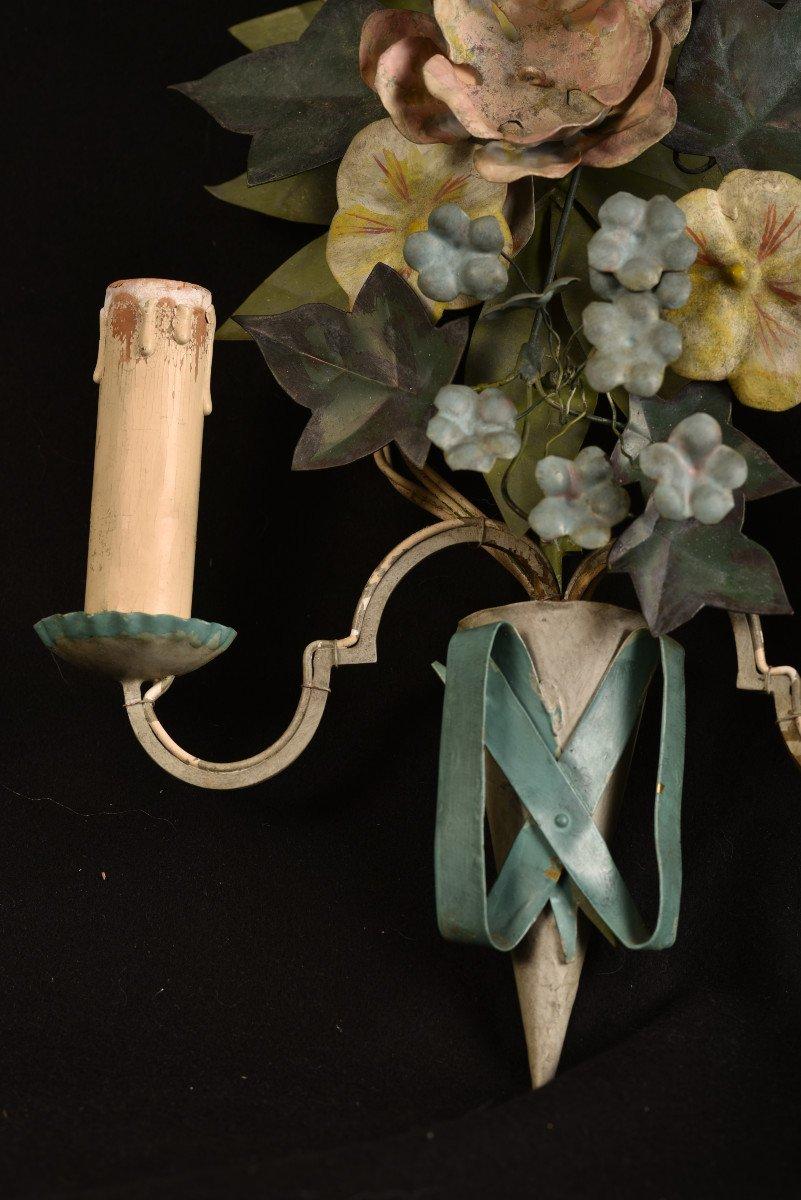 Appliques. Bouquets De Fleurs En Métal Patiné.-photo-5