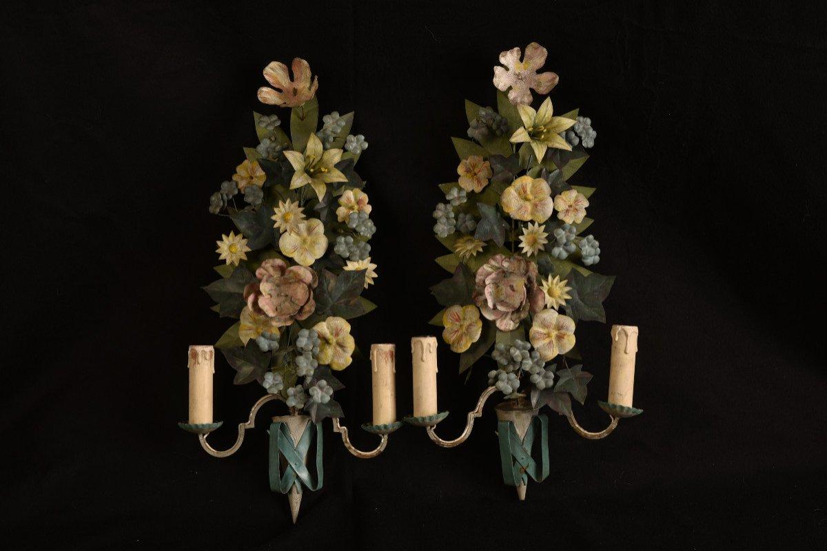 Appliques. Bouquets De Fleurs En Métal Patiné.-photo-8