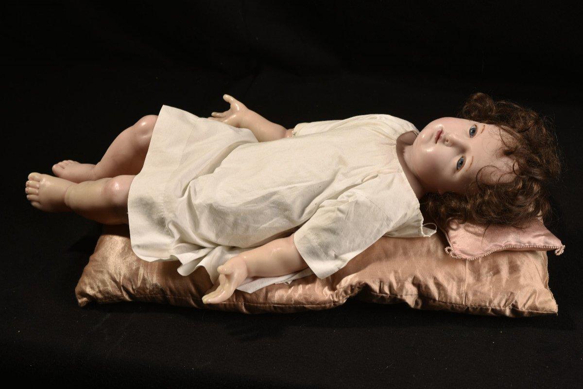 Importante Sculpture En Cire. Enfant Jésus.-photo-2