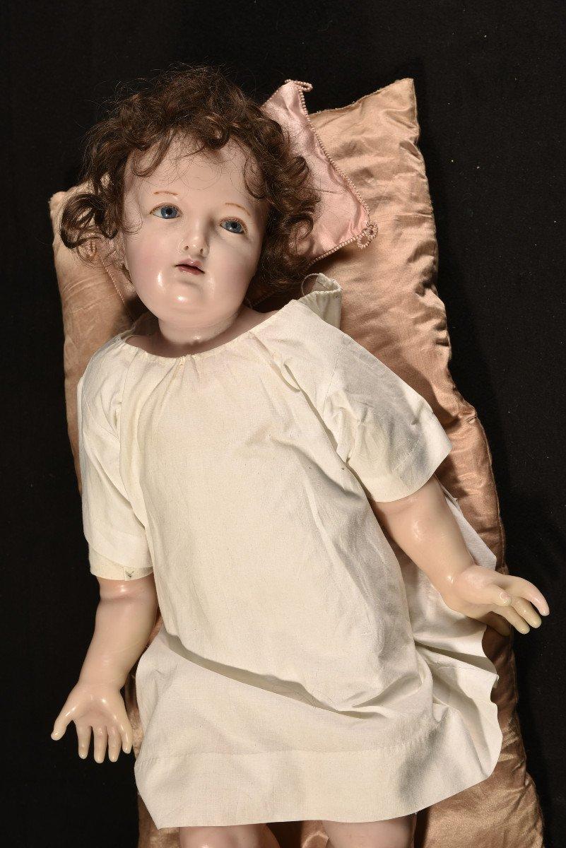 Importante Sculpture En Cire. Enfant Jésus.-photo-6