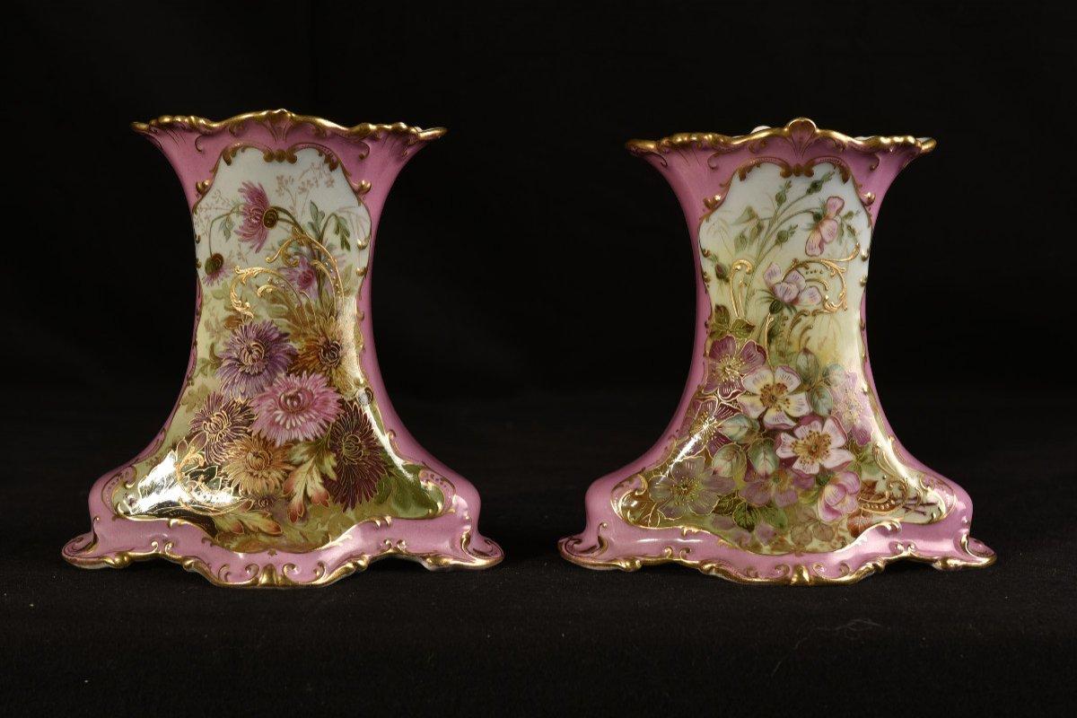 Porcelaine Limoges. Garniture De Cheminée. 1910 Art nouveau.-photo-2