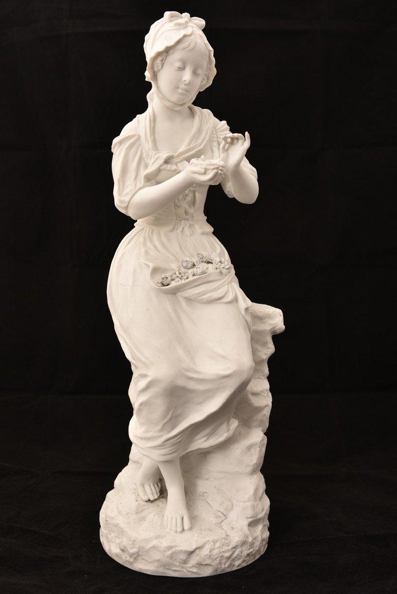 Sculpture En Biscuit. Oiseleuse. XIXème.-photo-2