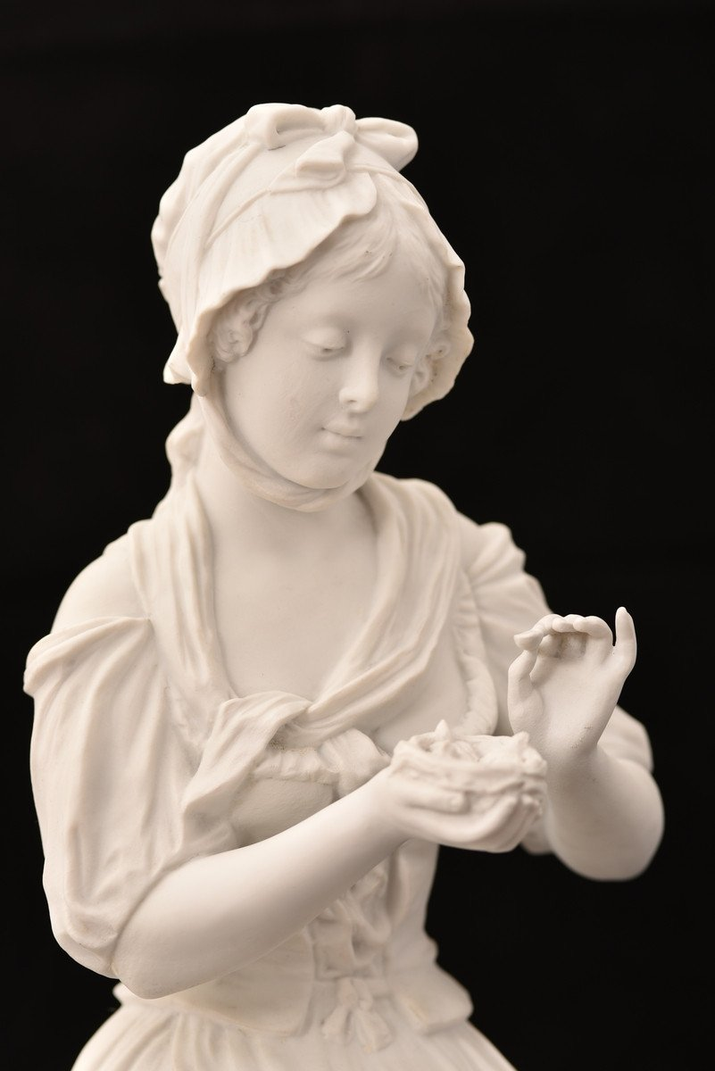 Sculpture En Biscuit. Oiseleuse. XIXème.-photo-3