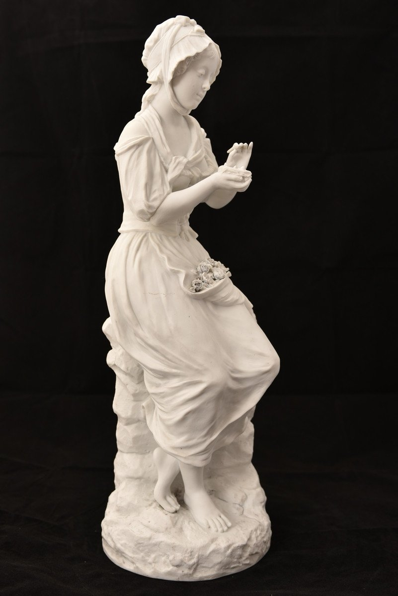 Sculpture En Biscuit. Oiseleuse. XIXème.-photo-4