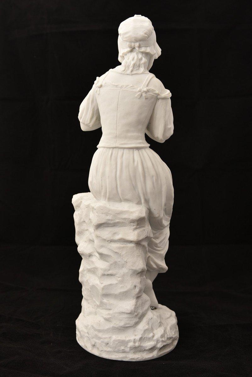 Sculpture En Biscuit. Oiseleuse. XIXème.-photo-1