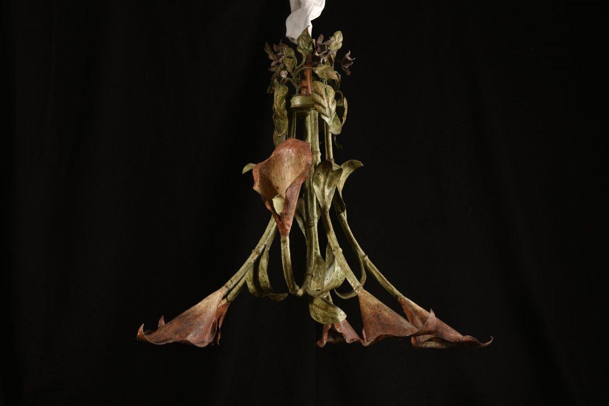 Lampe Fleurs De Calla Ou D´arum. Années 50.-photo-3