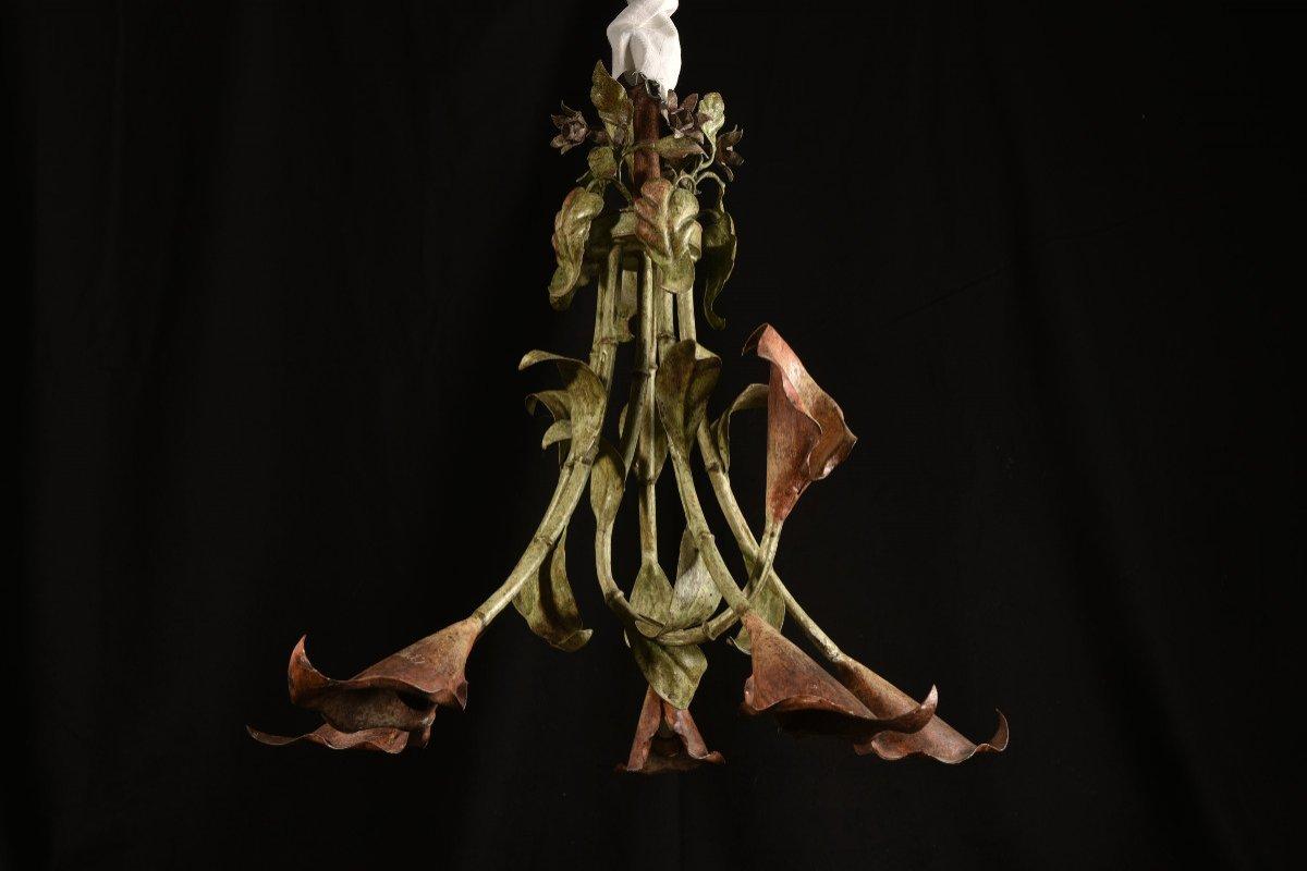 Lampe Fleurs De Calla Ou D´arum. Années 50.-photo-1