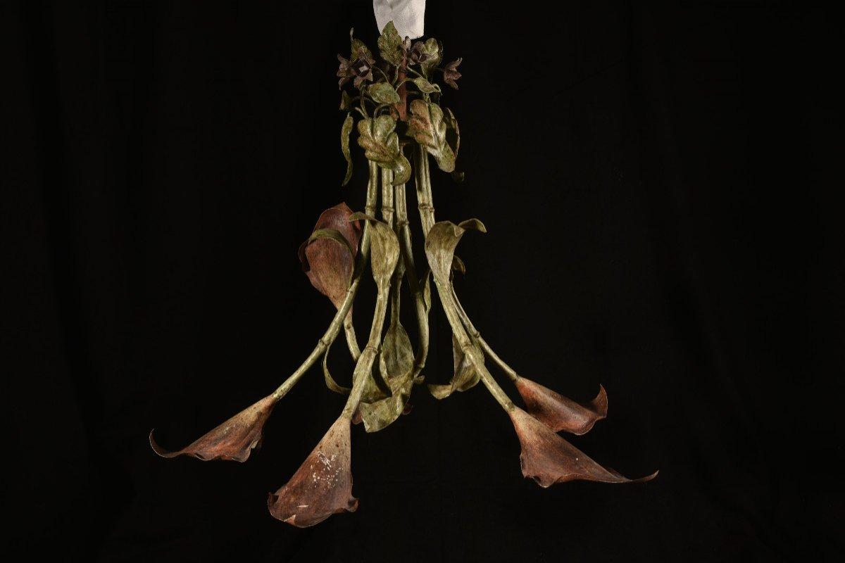 Lampe Fleurs De Calla Ou D´arum. Années 50.-photo-6