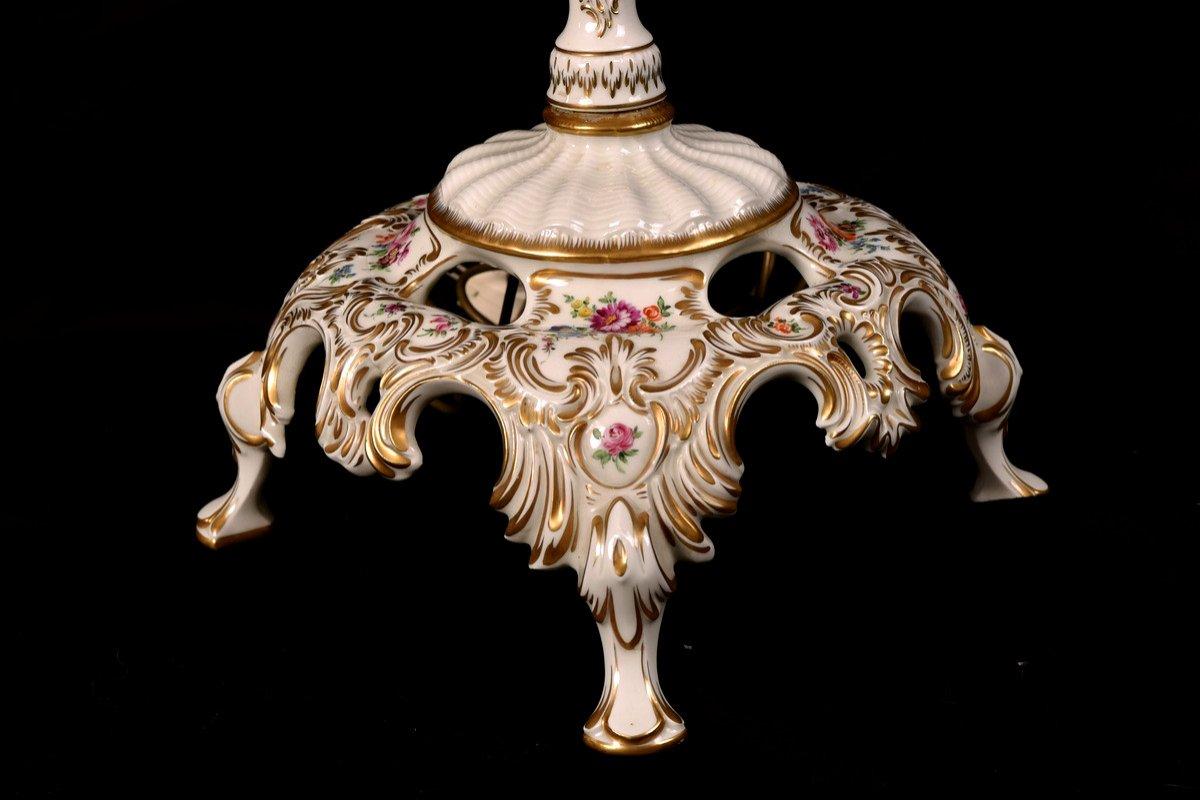 Lampadaire En Porcelaine De Dresde. XXème.-photo-2