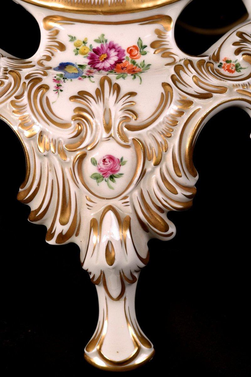 Lampadaire En Porcelaine De Dresde. XXème.-photo-1