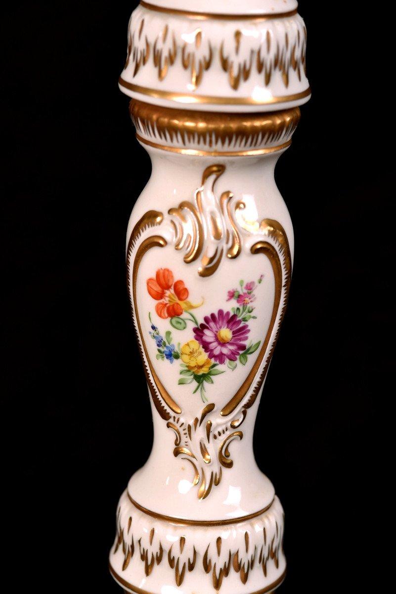 Lampadaire En Porcelaine De Dresde. XXème.-photo-3