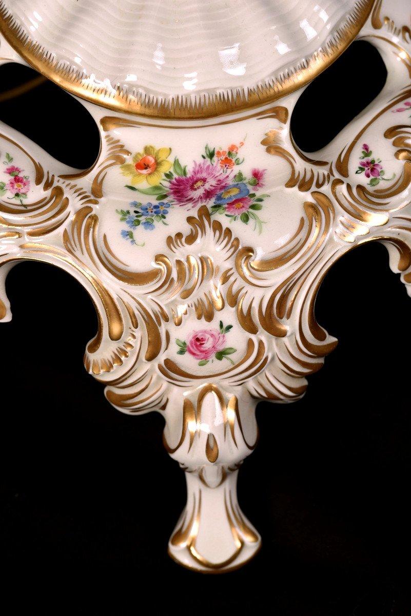 Lampadaire En Porcelaine De Dresde. XXème.-photo-4