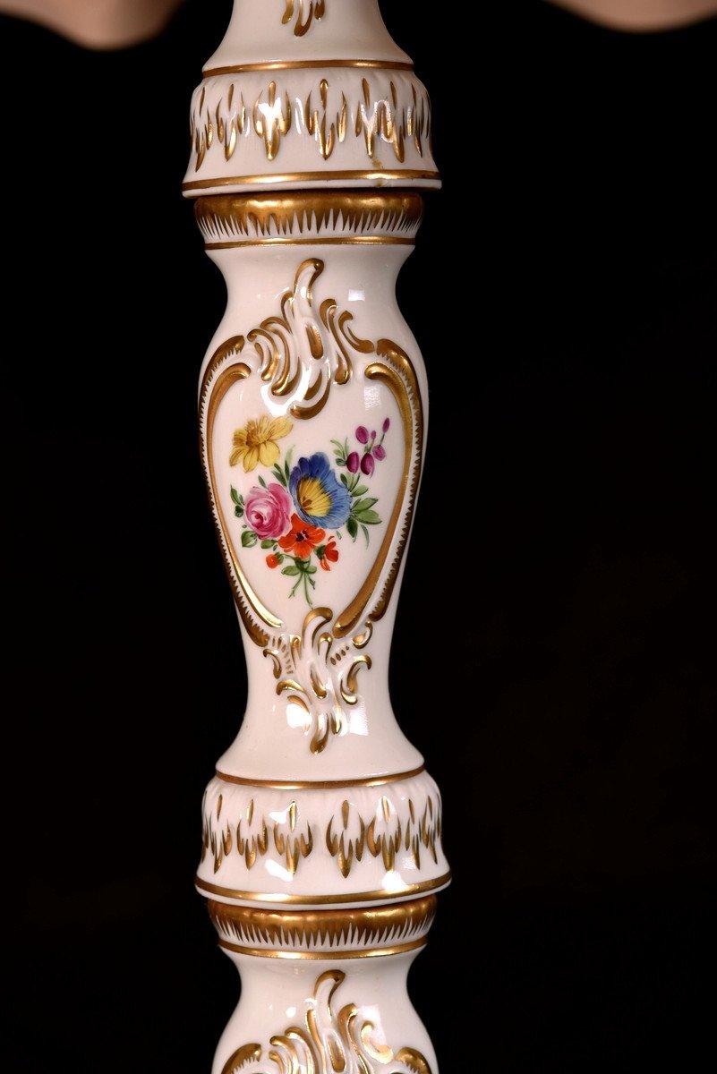 Lampadaire En Porcelaine De Dresde. XXème.-photo-5