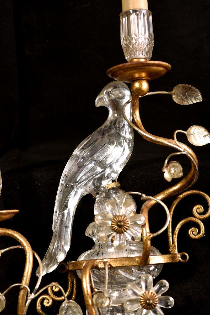 Paire D'appliques aux Perroquets. Style Bagues ou Banci. 1960-photo-1