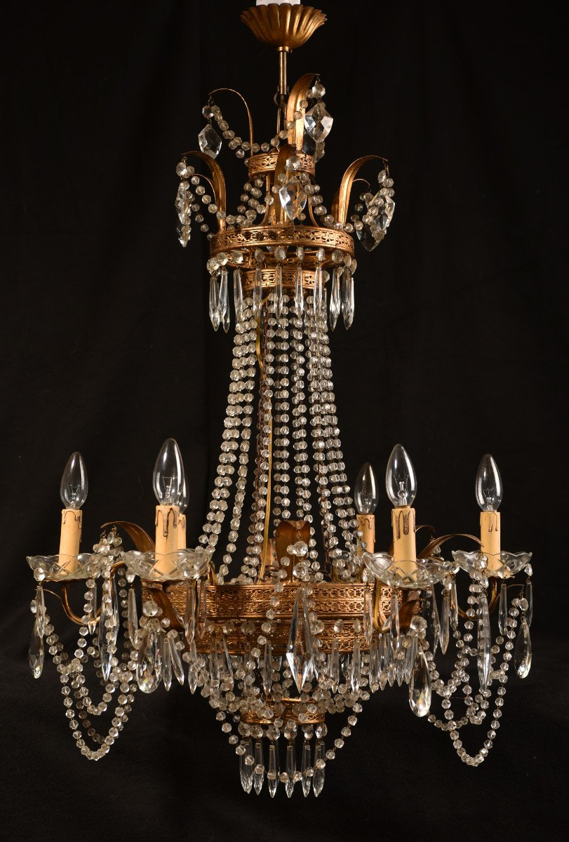 Lustre Corbeille. Marie-antoinette. Style Louis XVI.