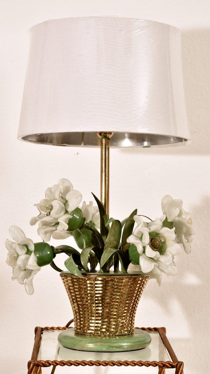 Lampe Corbeille De Roses. Murano. Design années 60.-photo-2