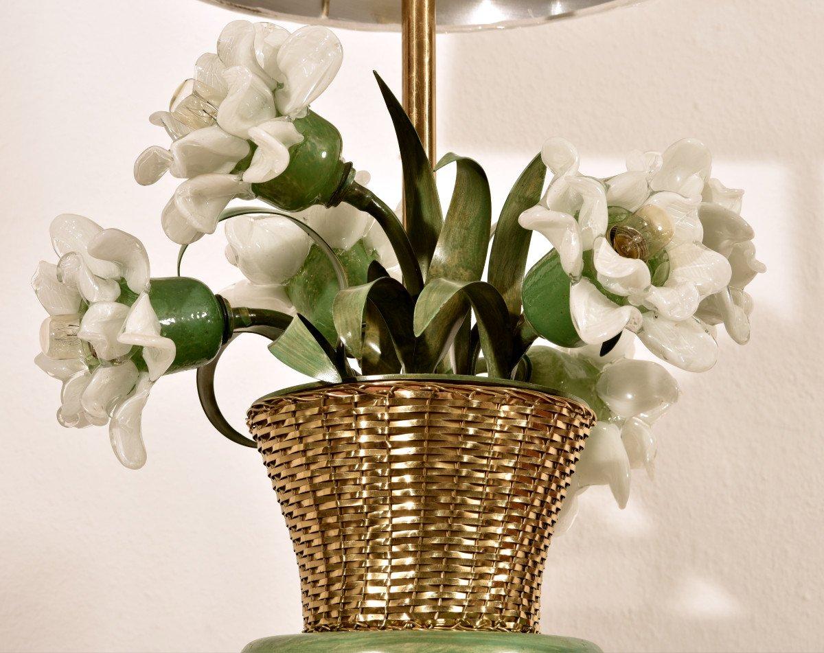 Lampe Corbeille De Roses. Murano. Design années 60.-photo-1