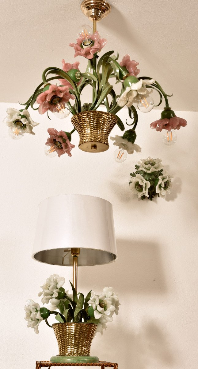 Lampe Corbeille De Roses. Murano. Design années 60.-photo-3