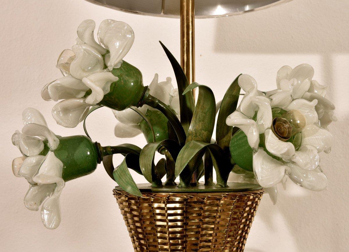 Lampe Corbeille De Roses. Murano. Design années 60.-photo-4
