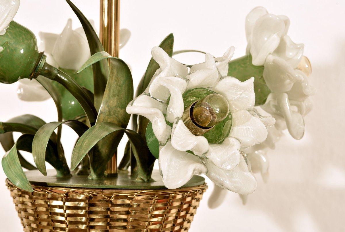 Lampe Corbeille De Roses. Murano. Design années 60.-photo-6