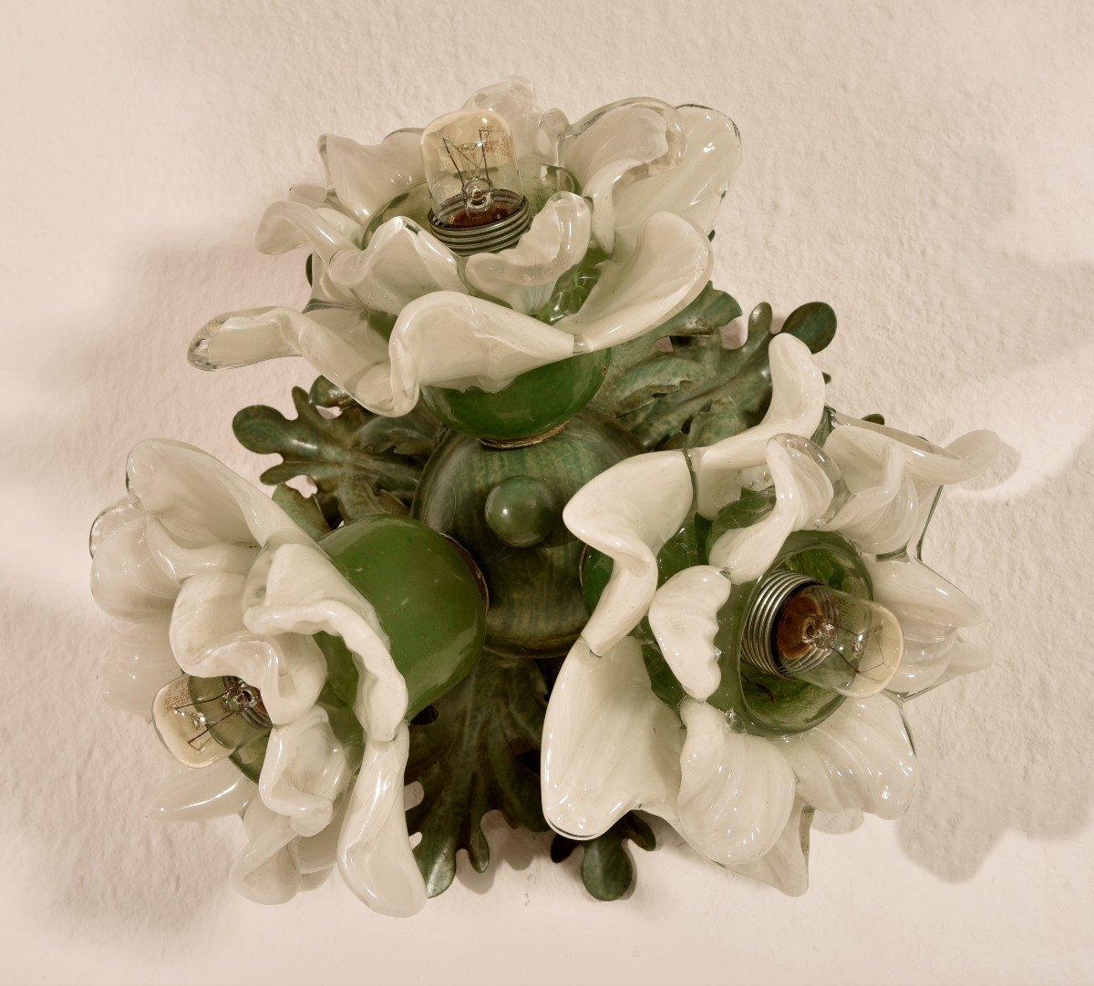Lampe Corbeille De Roses. Murano. Design années 60.-photo-7