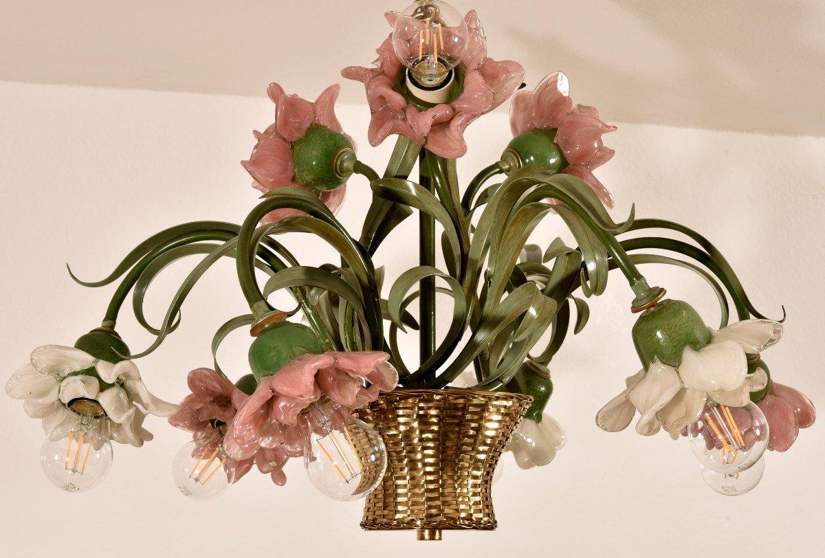 Lampe Corbeille De Roses. Murano. Design années 60.-photo-8