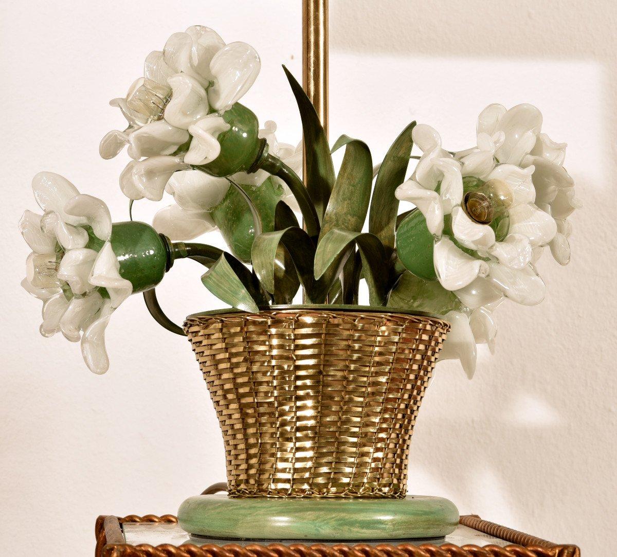 Lampe Corbeille De Roses. Murano. Design années 60.