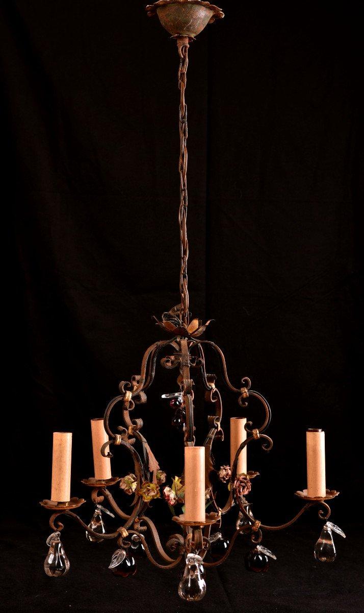 Lustre Cage  En Fer Forgé Vers 1940. Style Louis XVI.-photo-2