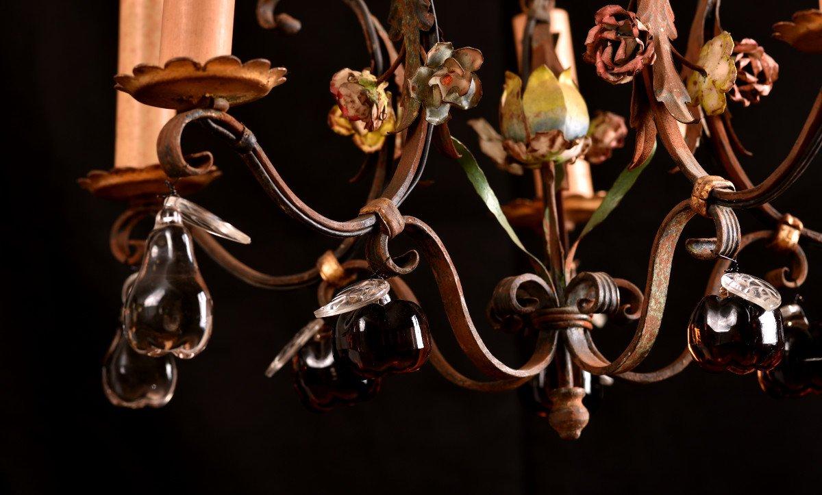 Lustre Cage  En Fer Forgé Vers 1940. Style Louis XVI.-photo-3