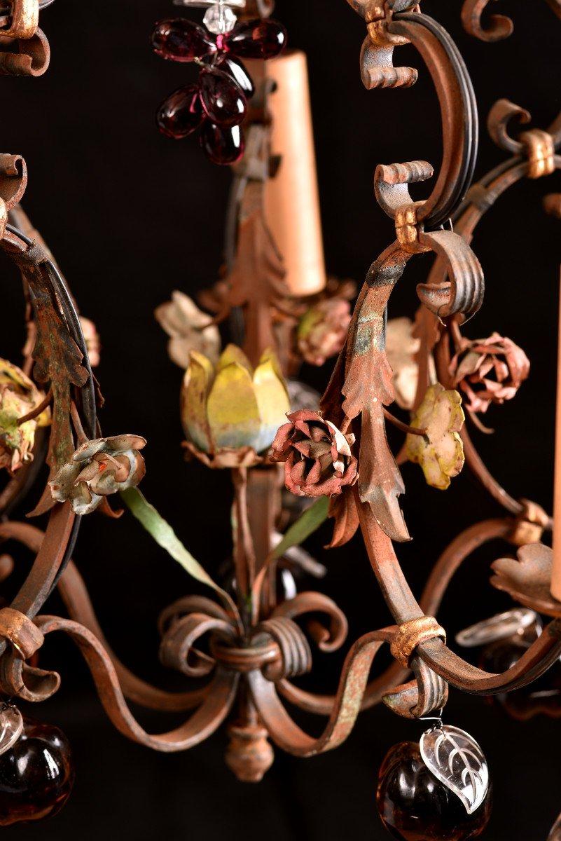 Lustre Cage  En Fer Forgé Vers 1940. Style Louis XVI.-photo-4