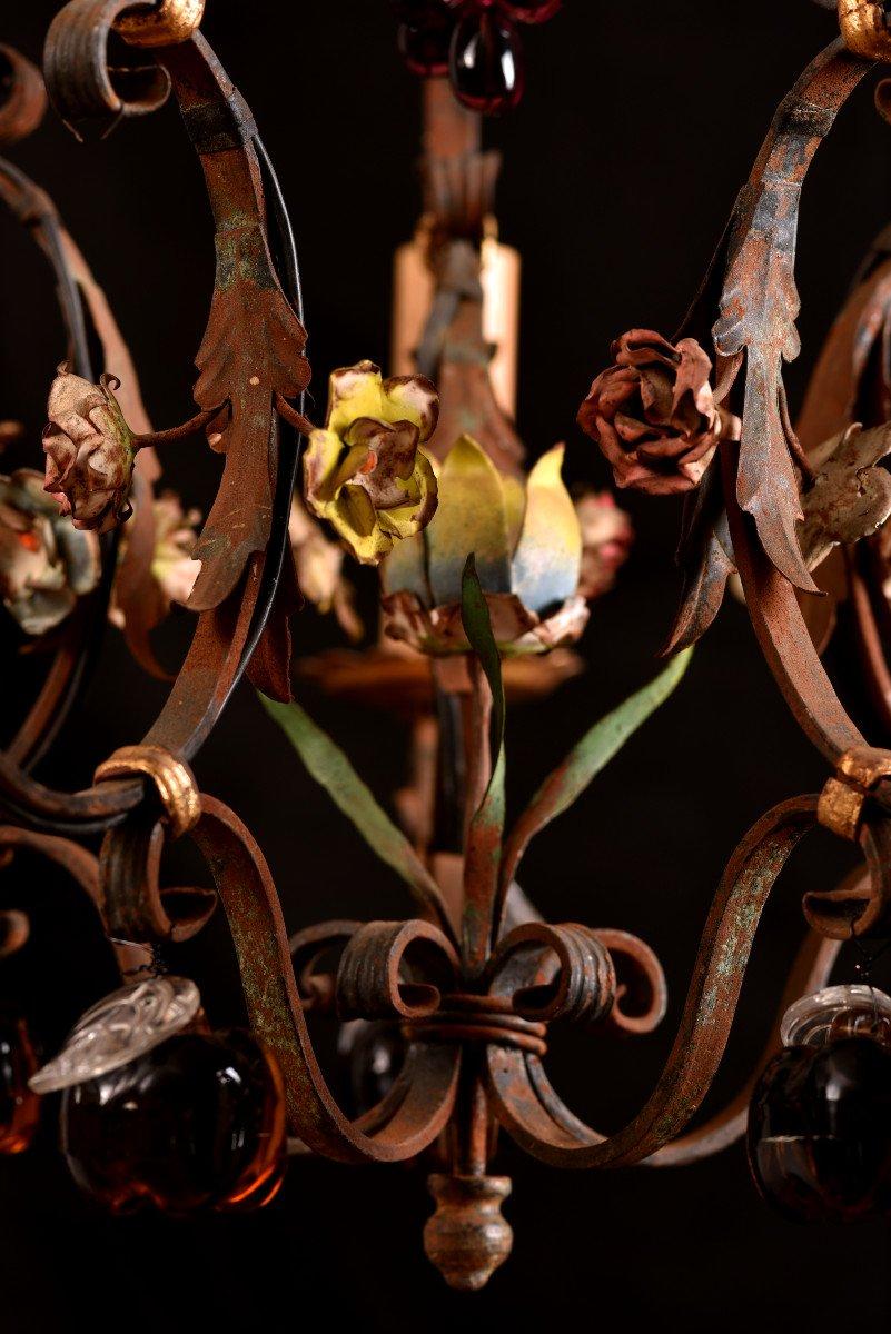 Lustre Cage  En Fer Forgé Vers 1940. Style Louis XVI.-photo-1