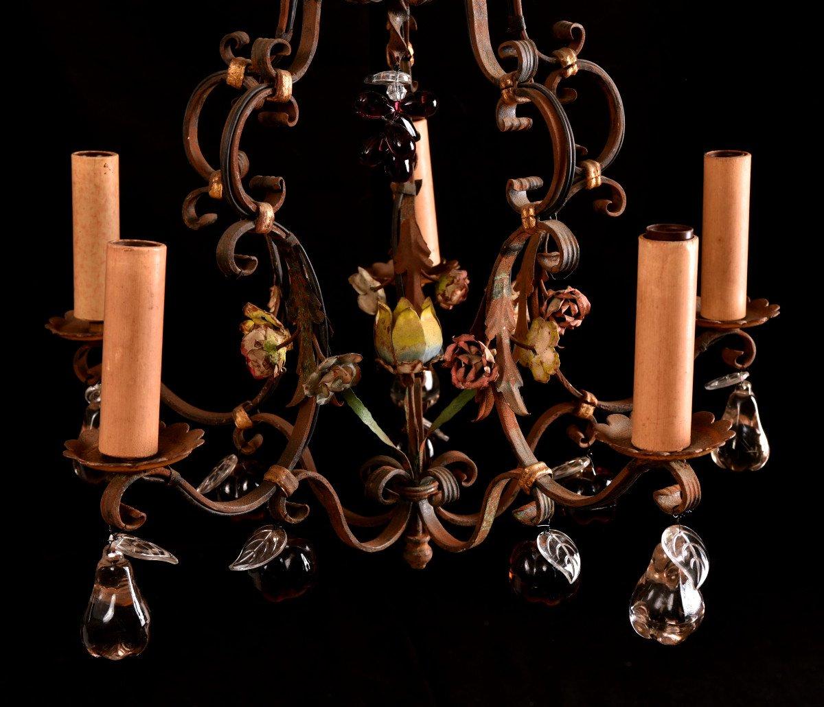 Lustre Cage  En Fer Forgé Vers 1940. Style Louis XVI.-photo-5
