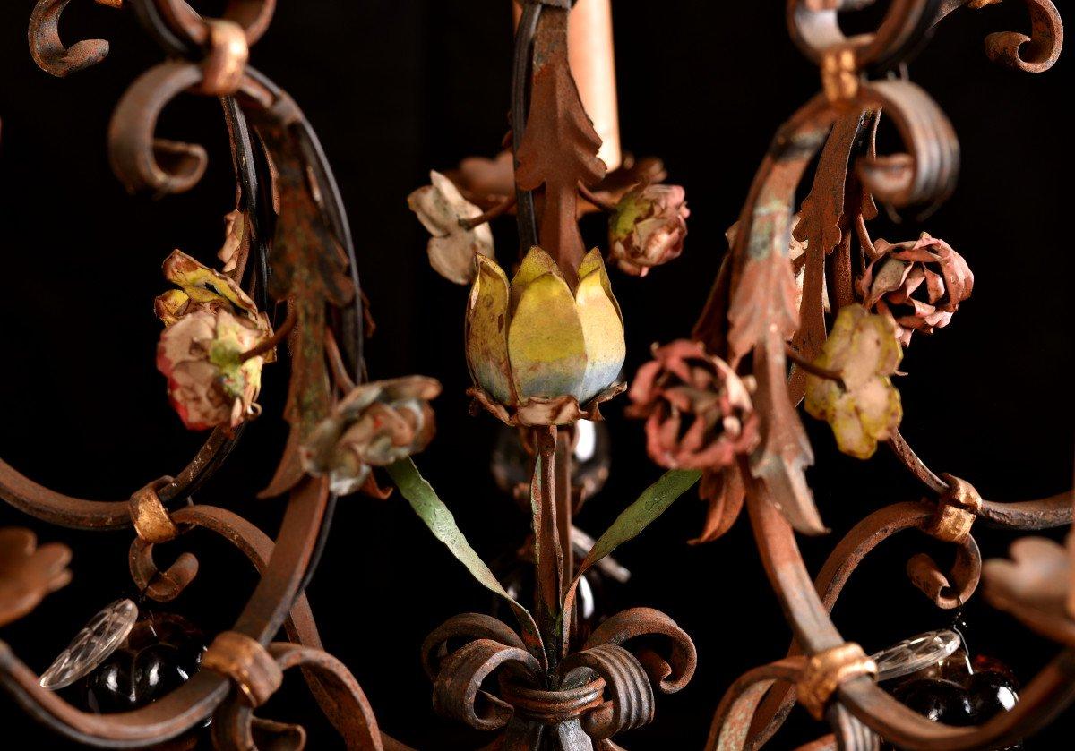 Lustre Cage  En Fer Forgé Vers 1940. Style Louis XVI.-photo-6