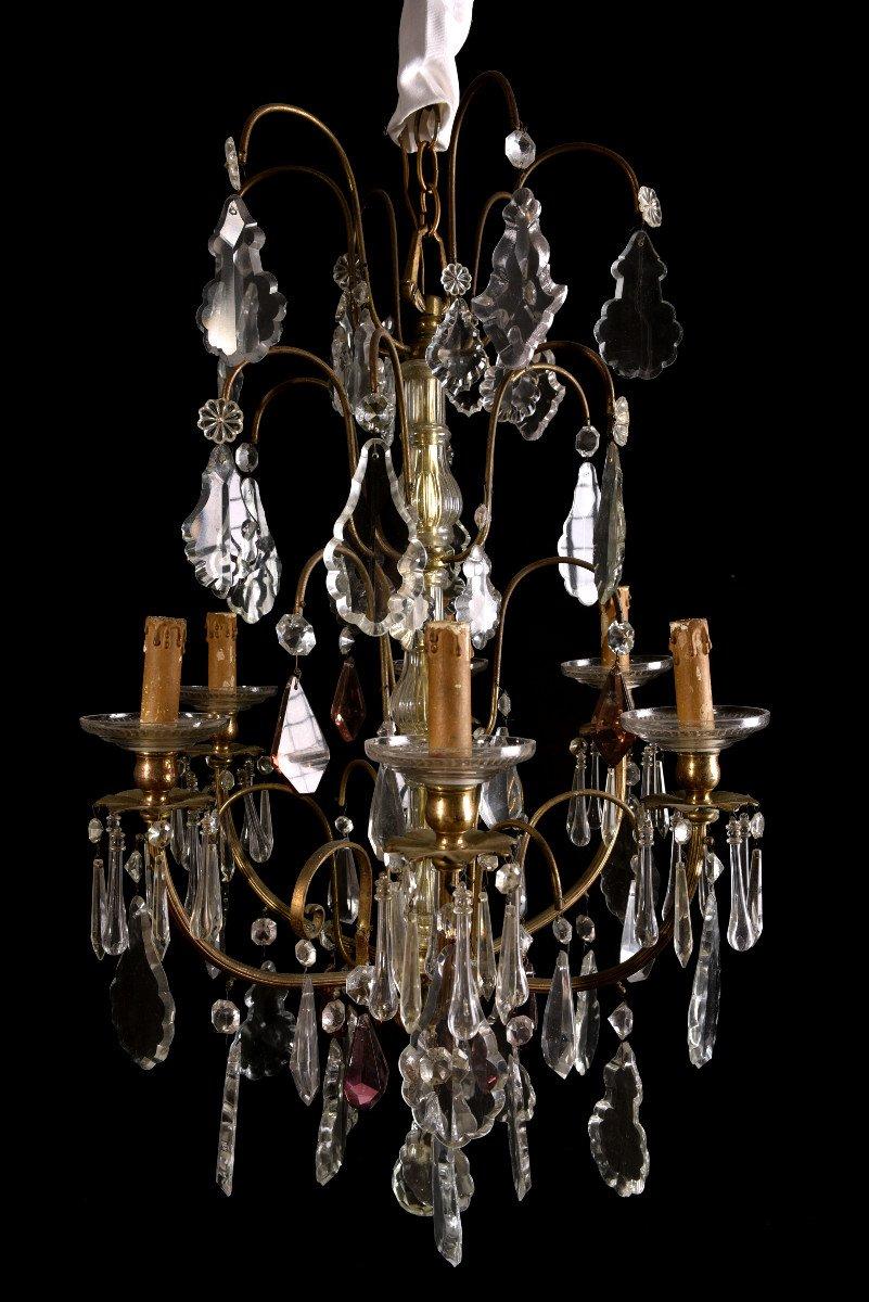 Lustre Napoleon III  De Style Louis XV. Bronze Doré Et Cristal.-photo-2