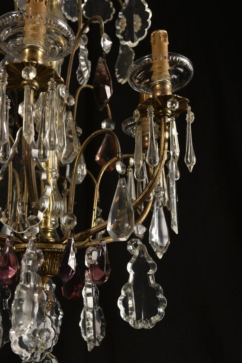 Lustre Napoleon III  De Style Louis XV. Bronze Doré Et Cristal.-photo-4