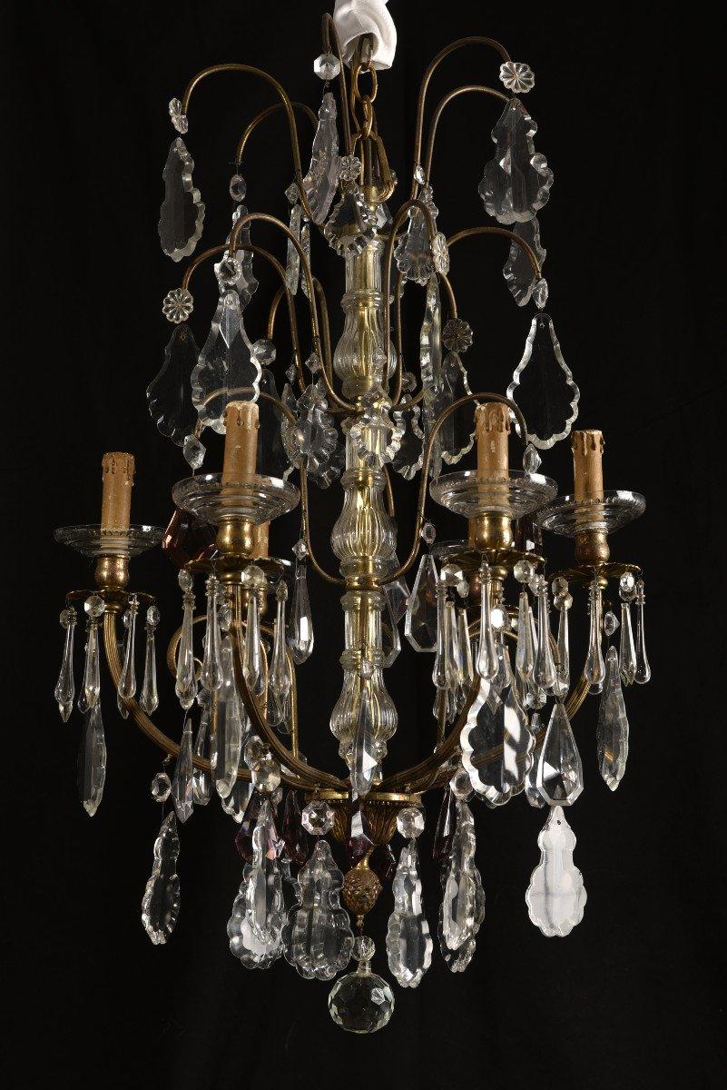 Lustre Napoleon III  De Style Louis XV. Bronze Doré Et Cristal.-photo-5