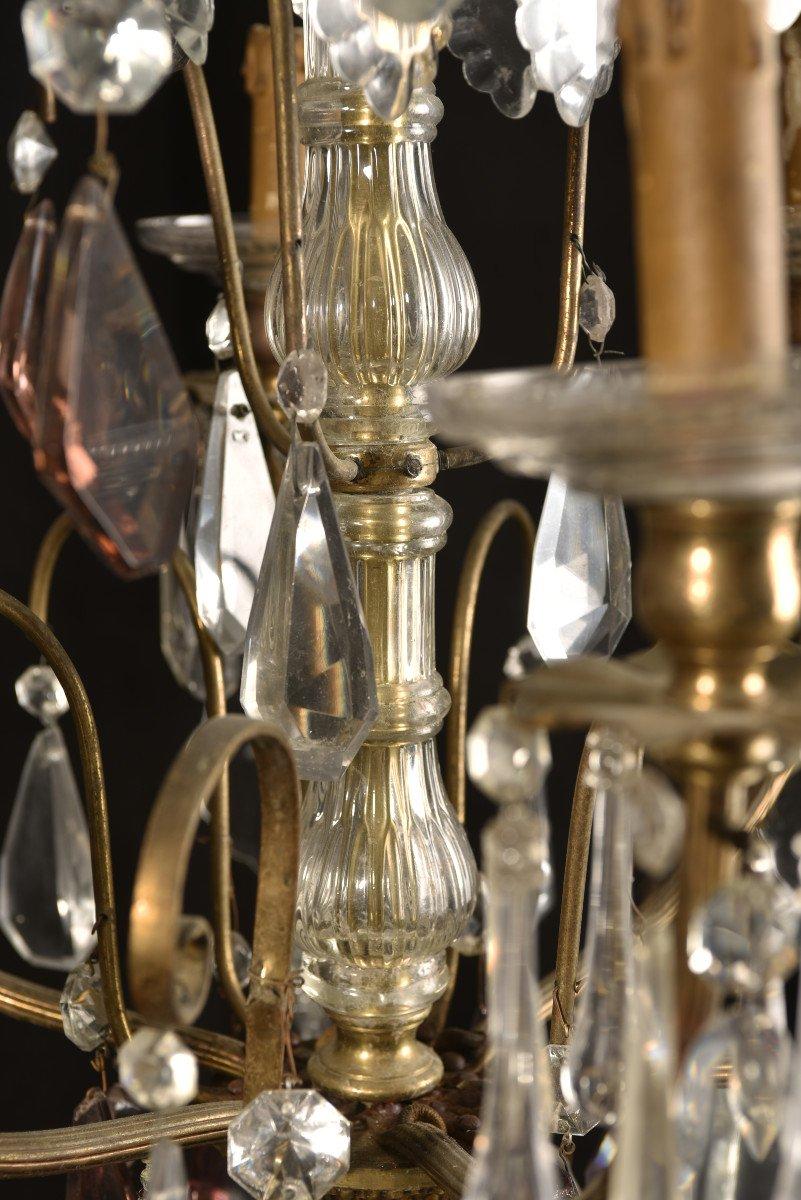 Lustre Napoleon III  De Style Louis XV. Bronze Doré Et Cristal.-photo-8