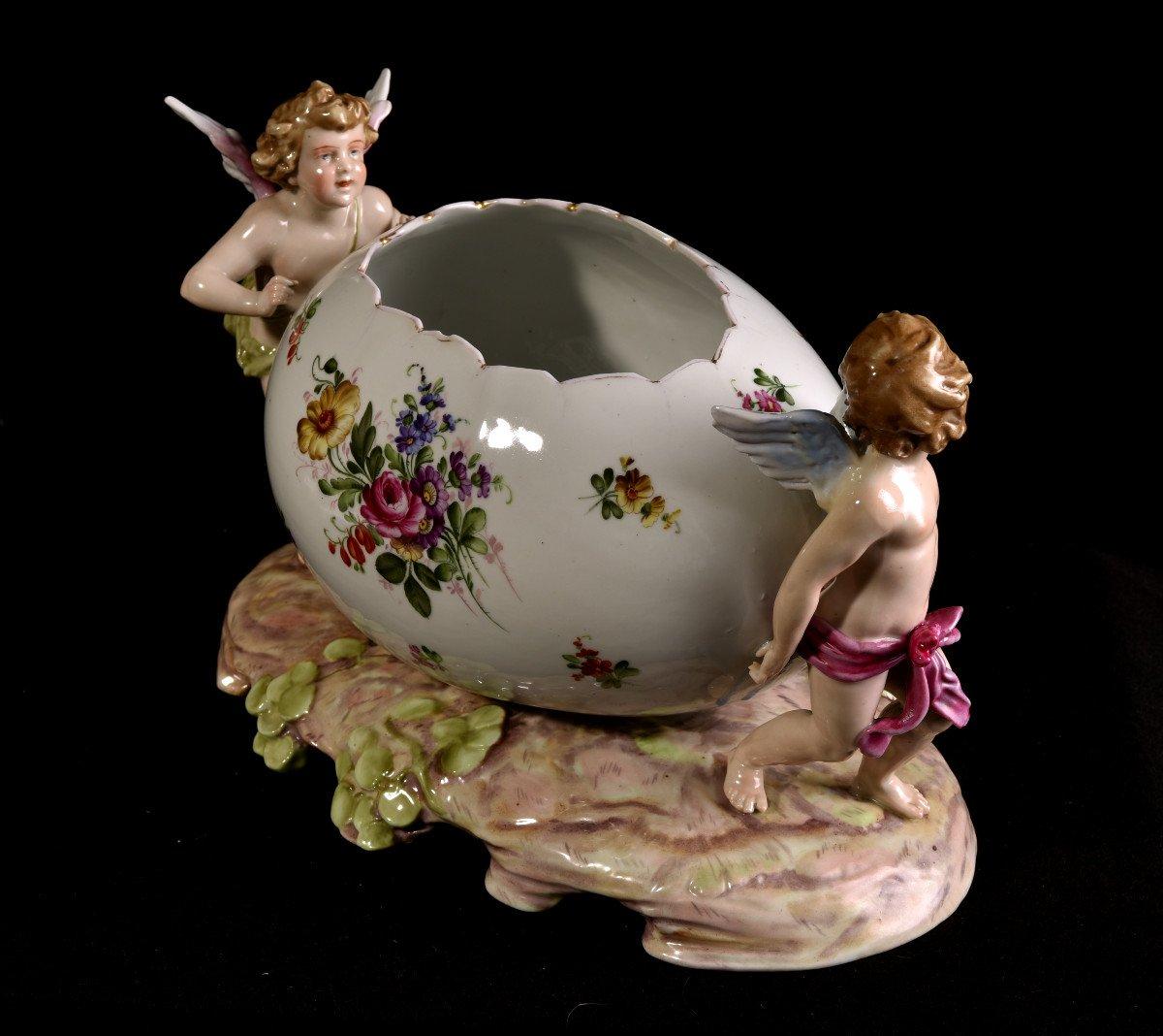 Important Centre De Table En Porcelaine Allemande . Plaue Vers 1900-photo-3