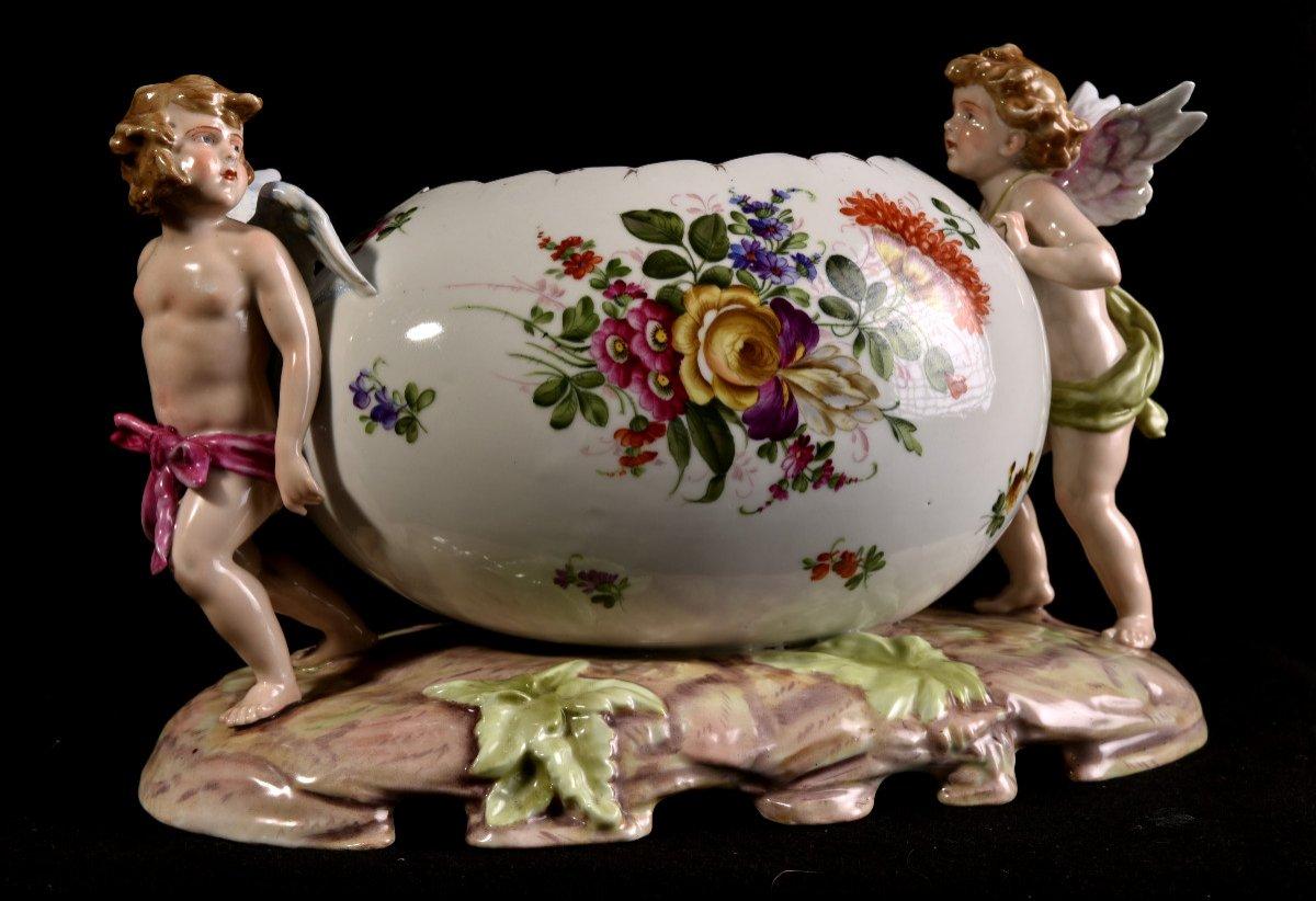 Important Centre De Table En Porcelaine Allemande . Plaue Vers 1900-photo-6