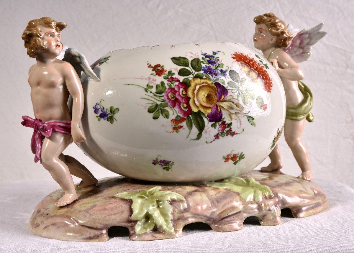 Important Centre De Table En Porcelaine Allemande . Plaue Vers 1900-photo-7