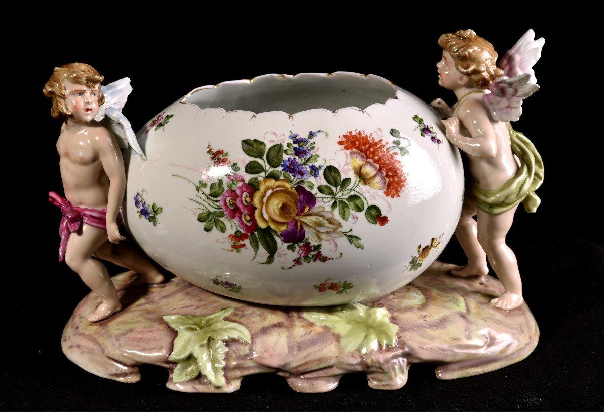 Important Centre De Table En Porcelaine Allemande . Plaue Vers 1900